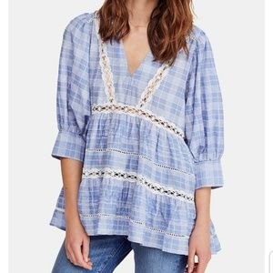 Free People Time Out Lace Tunic Dress Blue